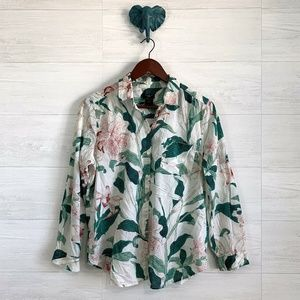 Ann Taylor Green Pink Leaf Floral Button Up Blouse